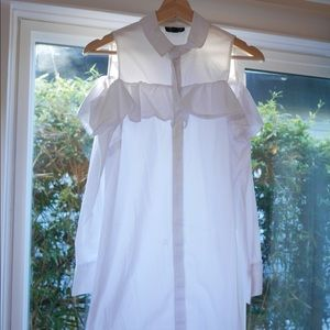 White ruffle cold shoulder dress by Topshop